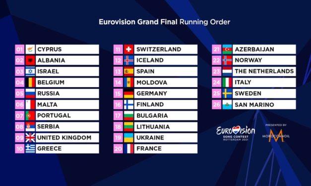 Eurovision 2021 : annonce de l'ordre de passage de la finale